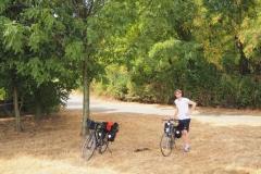 Pause auf dem Rheinradweg